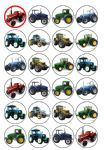 24 Farm Tractors Edible Wafer Rice Cup Cake Toppers